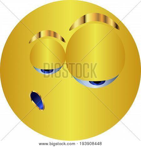Metal Emoticon-sticker / Emoticon tired / vector