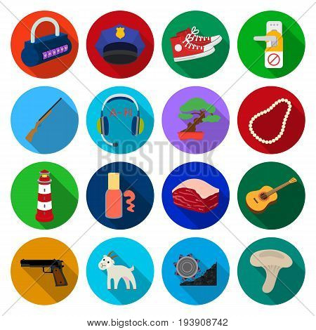 coal, mushroom, grandfather and other  icon in flat style. toy, wheel, crusher icons in set collection.
