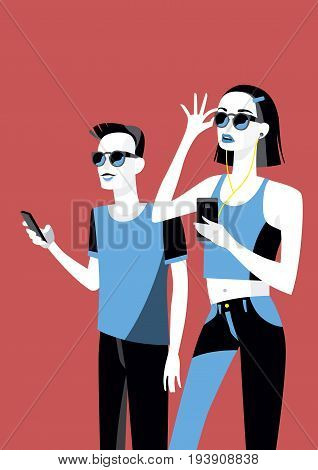 Millennial Boy and girl with their smartphones and glasses. She is listening to music with earphones.