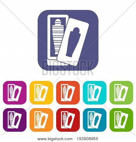 Mummy in sarcophagus icons set vector illustration in flat style In colors red, blue, green and other