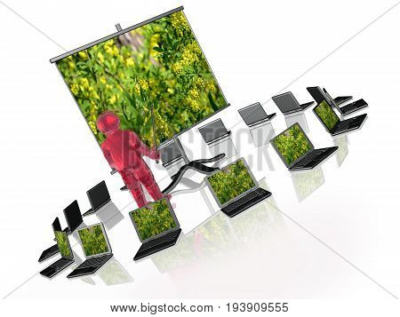 Man with presentation stand about nature on white background 3D illustration.