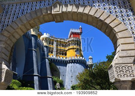 Sintra Portugal - June 06 2017: Tourists visit the Pena National Palace. The most popular tourist attraction in whole Portugal