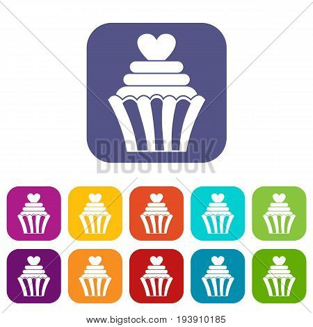 Love cupcake icons set vector illustration in flat style In colors red, blue, green and other