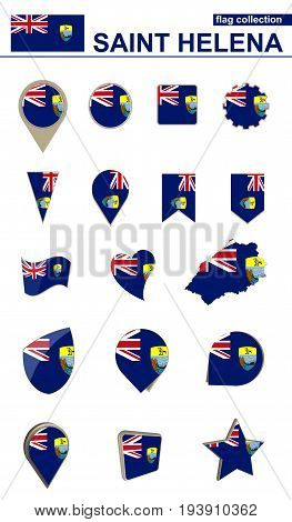 Saint Helena Flag Collection. Big Set For Design.