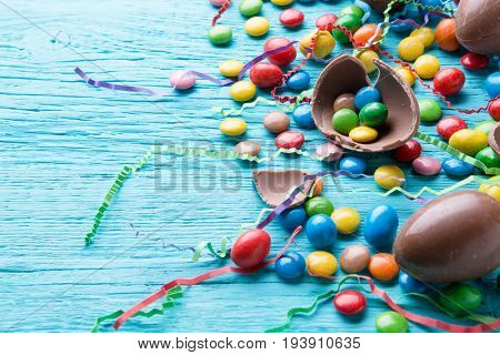 Multi-colored jelly beans, chocolate eggs