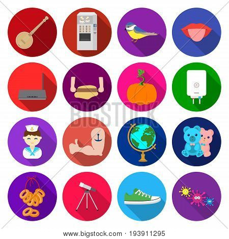 travel, business, progress and other  icon in flat style.microbes, sports, ecology icons in set collection.