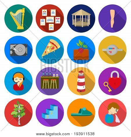 travel, business, ecology and other  icon in flat style., tourism, recreation, catering, icons in set collection.