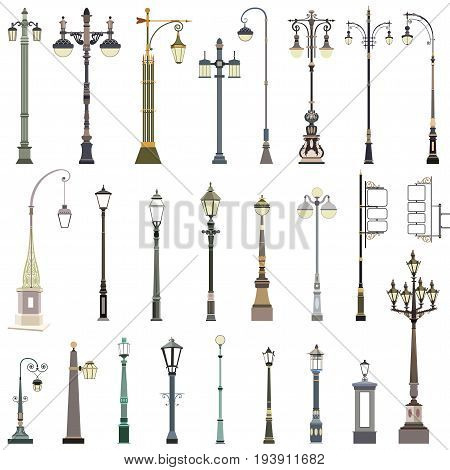 vector set of the isolated street lamps