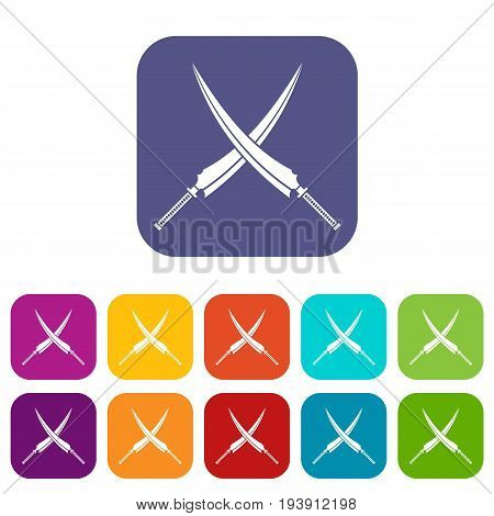 Samurai swords icons set vector illustration in flat style In colors red, blue, green and other