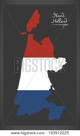 Noord-holland Netherlands Map With Dutch National Flag Illustration
