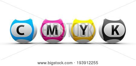 Lottery balls on a white table represents CMYK concept three-dimensional rendering 3D illustration