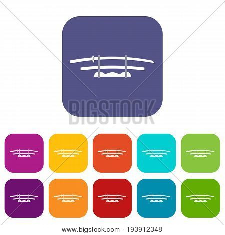 Katana, Japanese sword icons set vector illustration in flat style In colors red, blue, green and other