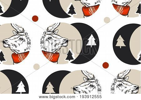 Hand drawn vector abstract vintage Christmas seamless pattern with graphic reindeers in red scarf and Christmas trees in dots shape .Winter holidays pattern concept.Polka dots texture.Wrapping paper.
