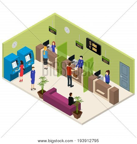 Interior Bank Office Isometric View Furniture, Equipment and Worker or Client People. Vector illustration