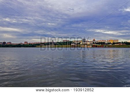 View of the city of Izhevsk from the opposite bank of the pond