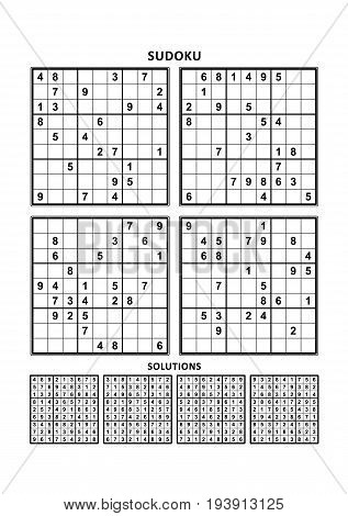 Four sudoku puzzles of comfortable (easy, yet not very easy) level, on A4 or Letter sized page with margins, suitable for large print books, answers included. Set 5.