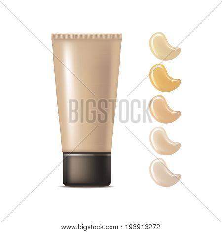 Realistic Foundation Cream Package Cosmetic Beige Palette for Woman Makeup or Skin Care. Vector illustration