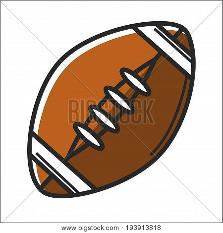 American football ball isolated on white vector flat illustration in graphic design. Close up poster of oval hard element in brown color with light lines for playing speedy games like rugby etc.