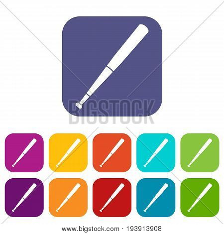 Black baseball bat icons set vector illustration in flat style In colors red, blue, green and other