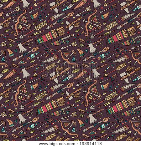 Vector hand drawn cartoon seamless pattern with tribal ethnic elements and objects