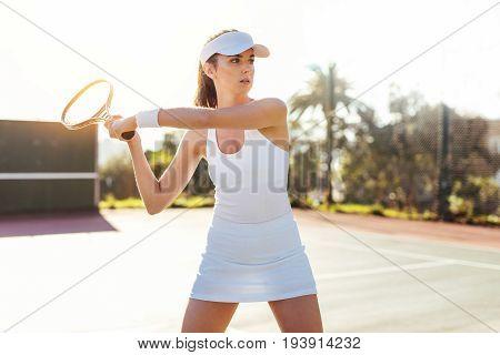 Beautiful Woman Playing Tennis Match