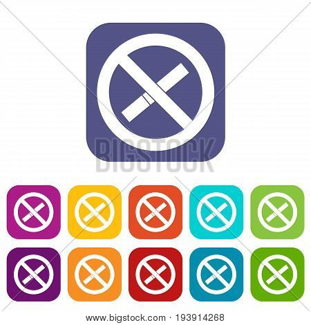 Sign prohibiting smoking icons set vector illustration in flat style In colors red, blue, green and other