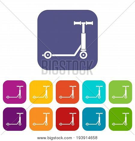 Scooter icons set vector illustration in flat style In colors red, blue, green and other