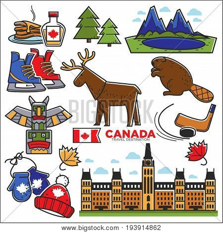 Canada touristic map with sightseeings colorful graphic poster. Vector illustration in flat design presenting Canadian traditional food, national animals, architectural constructions and lifestyle
