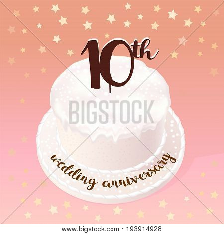10 years of wedding or marriage vector icon illustration. Design element with celebration cake for 10th wedding anniversary