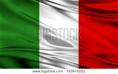 Realistic flag of Flag of Italy on the wavy surface of fabric. This flag can be used in design