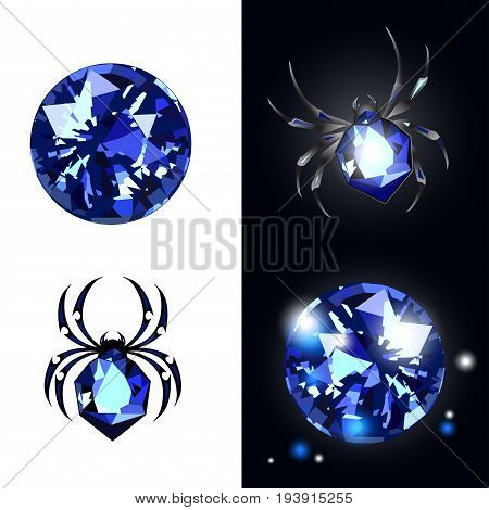 Sapphire Spider and sapphire gems on black and white background with glimpses. Vector illustartion