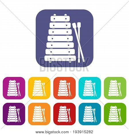 Xylophone and sticks icons set vector illustration in flat style In colors red, blue, green and other