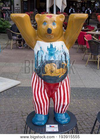 BERLIN GERMANY - JULY 3 2017: United Buddy Bears: Czech Republic Bear At Wittenbergplatz Square In Berlin