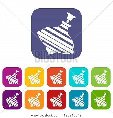 Carousel humming top icons set vector illustration in flat style In colors red, blue, green and other