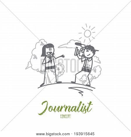 Journalist concept. Hand drawn journalist and operator. Correspondent making news isolated vector illustration.