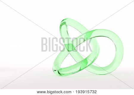 Green glass torus knot isolated on white background. 3d image