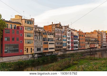 Facade Of The Houses On The Bank Of River Onyar. Girona, Catalonia, Spain.