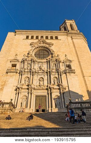 Girona Spain - October 23 2016. Tourist visiting the gothic Santa Maria cathedral. Gerona Costa Brava Catalonia Spain.