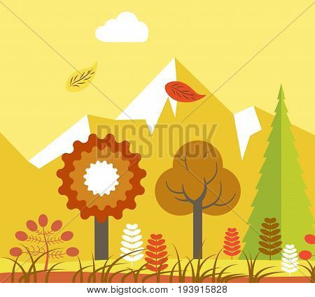 Vector illustration of forest with falling leaves in autumn evening.