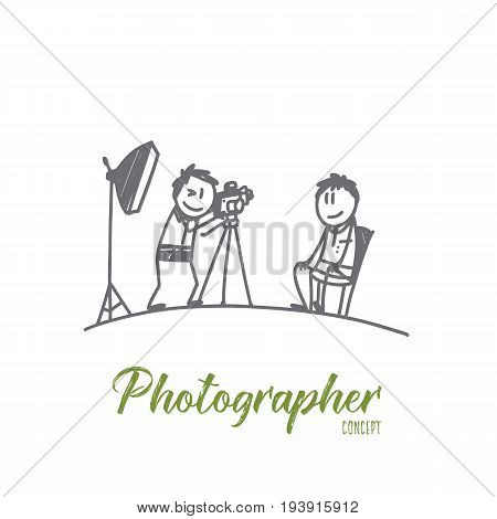 Photographer concept. Hand drawn photographer working with model in studio. Photo session isolated vector illustration.