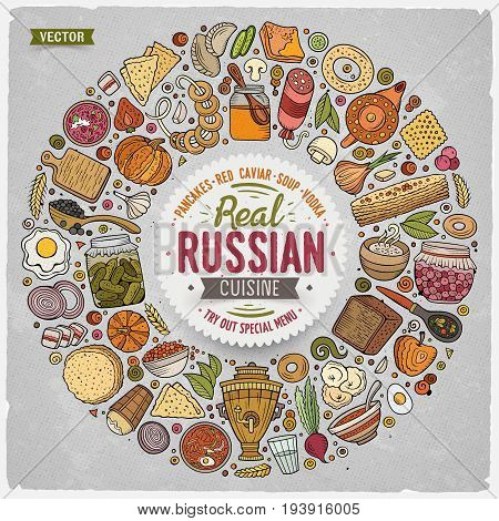 Colorful vector hand drawn set of Russian food cartoon doodle objects, symbols and items. Round frame composition