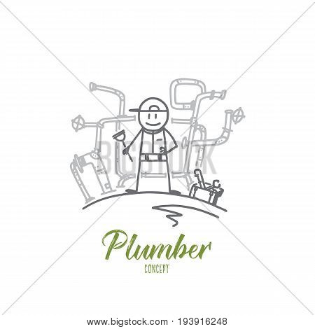Plumber concept. Hand drawn plumber with tools in hands. Plumbing repair person isolated vector illustration.
