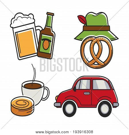 German traditional attributes colorful collection isolated on white. Vector illustration in flat design of beer bottle and mug, green hat near pretzel bun, coffee cup with pastry and red car.