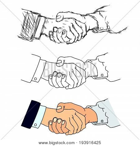 Shaking hands flat design concept. Handshake business agreement partnership concepts. Two hands shaking each other. Vector illustration