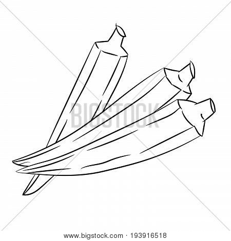 Hand drawn sketch of Okra or Lady's Finger isolated Black and White Cartoon Vector Illustration for Coloring Book - Line Drawn Vector
