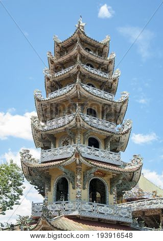 Mosaic Pagoda Lin Phuoc in the city of Dalat Vietnam a Buddhist temple. Part.