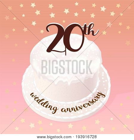 20 years of wedding or marriage vector icon illustration. Design element with celebration cake for 20th wedding anniversary