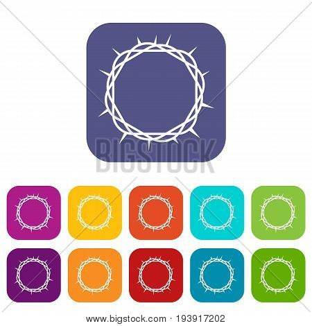 Crown of thorns icons set vector illustration in flat style In colors red, blue, green and other
