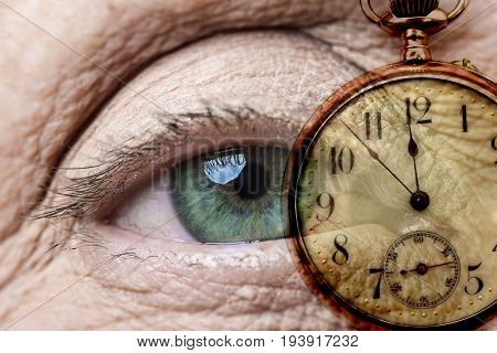 an old eye and an old watch - time concept
