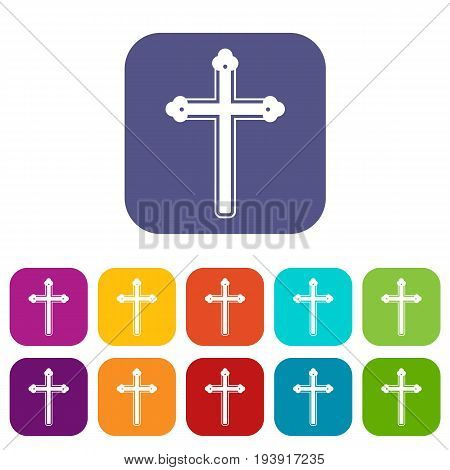 Holy cross icons set vector illustration in flat style In colors red, blue, green and other